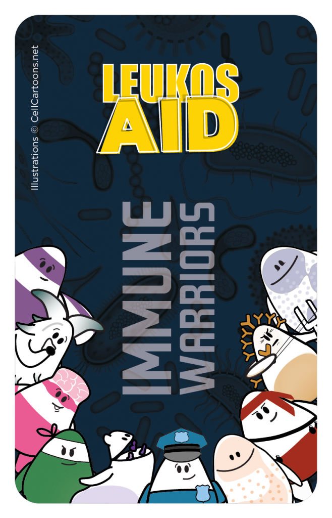 Immune Cell Warrior card game called Leukos Aid to learn immunology